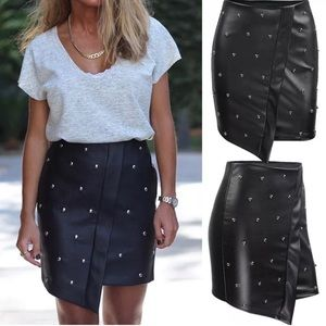 Dresses & Skirts - LAST ONE Studded High Rise Vegan Lthr Black Skirt